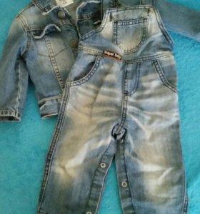 Джинсовая курточка и джинсы на мальчика 7-12 месяц