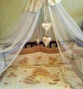 Кровать, с матрасом и комплектом