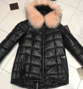 Новый зимний кожаный пуховик
