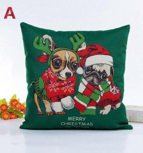 новая наволочка новогодняя подарок собака