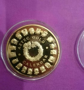 Монета календарь Ацтеков цветная