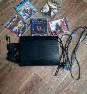 PS3 12GB + 5 игр