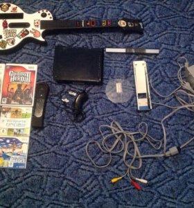 Игровая приставка wii с играми и гитарой