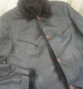 Куртка кожаная мужская меховая