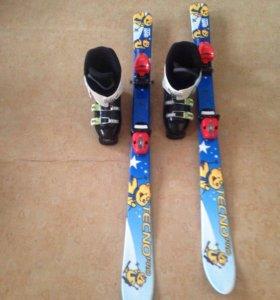 Горные  лыжи до 1,20 ботинки 34 размер.