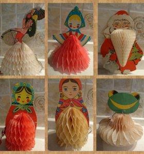 Ёлочные бумажные игрушки раскладные СССР #6
