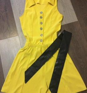 Топик шорты-юбка, комбенизон желтый