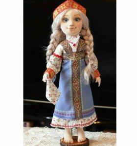 Текстильная интерьерная авторская кукла Настенька