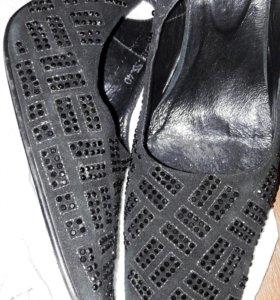 Туфли босоножки замша и стразы