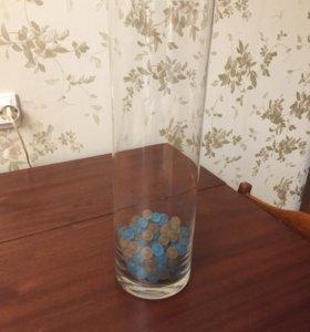 Стеклянная ваза НОВАЯ с засыпкой Аквамарблс