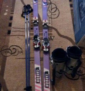 Горные лыжи+ботинки+палки