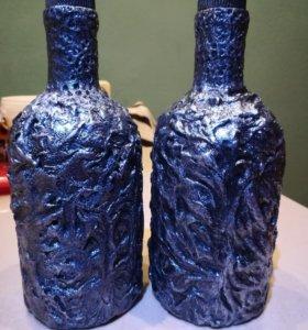 Декорированная бутылка стиль Винтаж Серебро