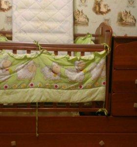 Кровать-трансформер + комплект в кроватку + матрац