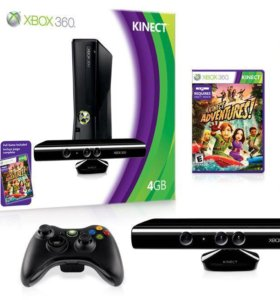 Xbox 360 slim 250Gb + freeboot + 2 пульта + kinect