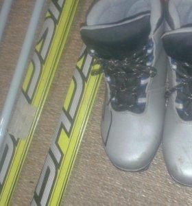 Лыжи беговые длина 170 ботинки 39