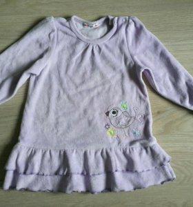 Платье велюровое, р.86 см