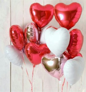 Гелиевые шары, сердца.