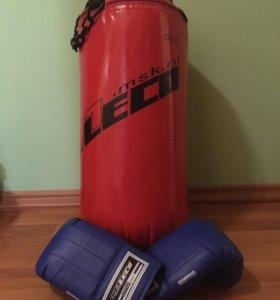 Мешок боксерский LECO 15 кг HOME ГП2-0 + Перчатки