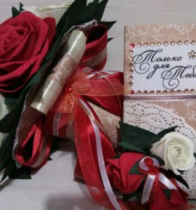 Букет 15 роз из фоамирана+дизайн шоколадки