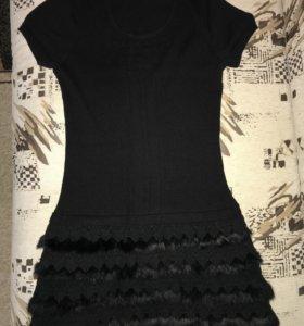 Шерстяное платье со вставками кролика