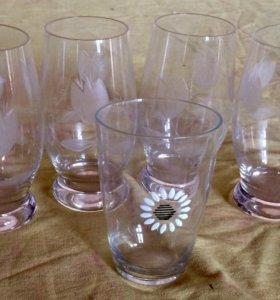 Набор бокалы,стаканы, селедочницы, кувшин хрусталь