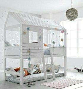 """Детская кроватка-домик """"чердак"""" с зашитой крышей🌛"""