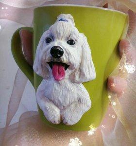 Кружка с декором милая собачка с языком, в подарок