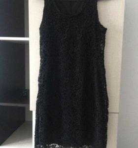 Платье чёрное, новое, кружевное, 44-46