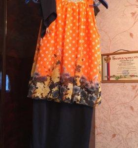Платье праздничное с перчатками