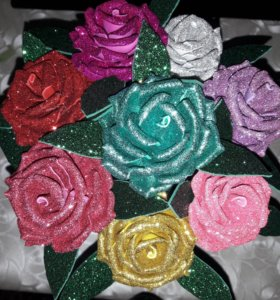 Розы из глитерного фоомирана