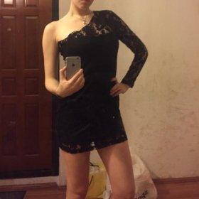 чёрное платье кружевное H&M