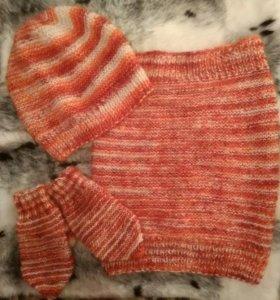 Шапка, шарф-хомут, рукавички