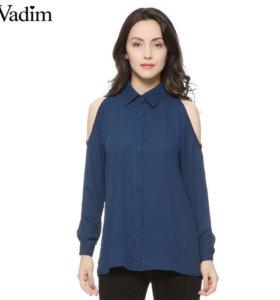 Рубашка шифон с открытыми плечами