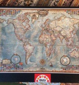 Пазл старинная карта мира 1500 деталей