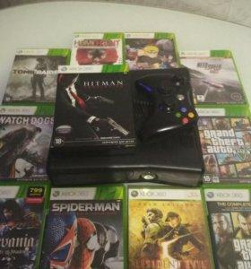 Xbox 360 на 250 ГБ + 10 игр + наушники