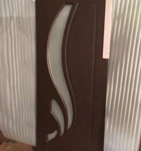 Дверь «Лотос», ПВХ, венге, стекло, 800 ми
