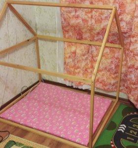 Каркасный деревянный домик с чехлом и матрасиком