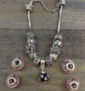 PANDORA браслет с шармами розовый