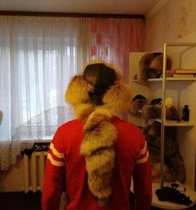 Зимняя шапка мужская лиса чистый