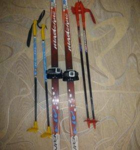 Лыжи 120см с палками