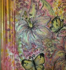 """Картина маслом """"Бабочки"""""""