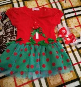 Новогодний наряд платье+повязка бант