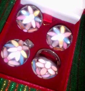 Серебро комплект кольцо, подвеска, серьги