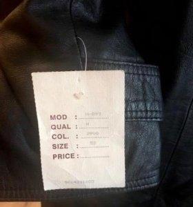 Новый кожаный мужской плащ-пальто