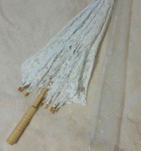 Зонт ажурный для свадьбы и фотосессии. И веер.