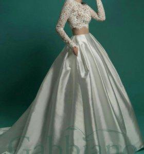Свадебное платье ( кроп-топ и юбка)