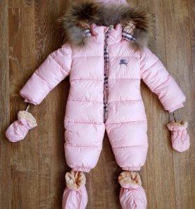 НОВЫЙ детский зимний комбинезон Burberry на 9–12м