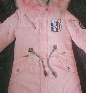 Пальто зимнее на девочек, новое