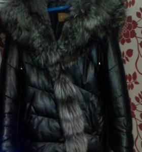 Натуральная кожаная куртка с чернобуркой