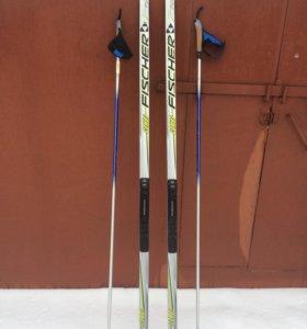 Лыжи беговые Fisher с палками